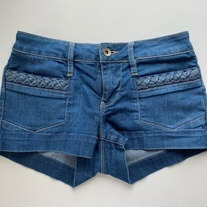 BULLHEAD 0 Denim Shorts Braided Pockets